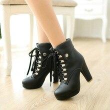Lace Up High Heel Ankle Boots para Las Mujeres Plataforma Botines Moda Zapatos de Tacón Chunky Bloque Corto Marrón Negro Blanco Albaricoque