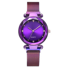 2019 Hot Sale Starry Sky Watch Womens Luxury Magnetic Quartz Wristwatches Geometric Surface Female Diamond Watches reloj mujer