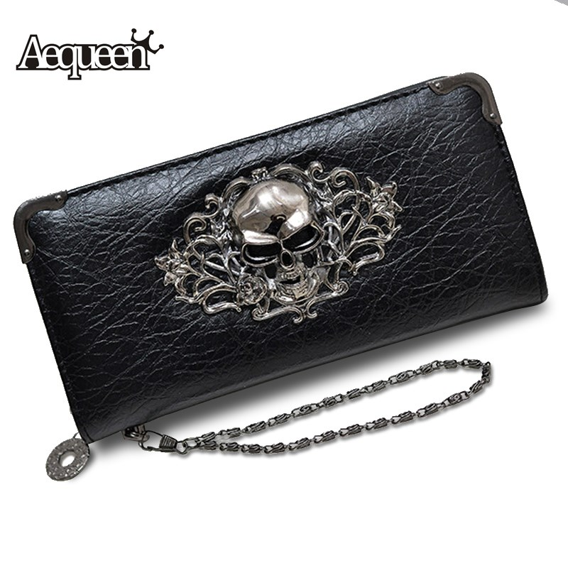 AEQUEEN Metal Skull Wallets Women Long Wallet PU Leather Purses Zipper Clutch Coin Purse Ladies Clutches Chain Card Holders