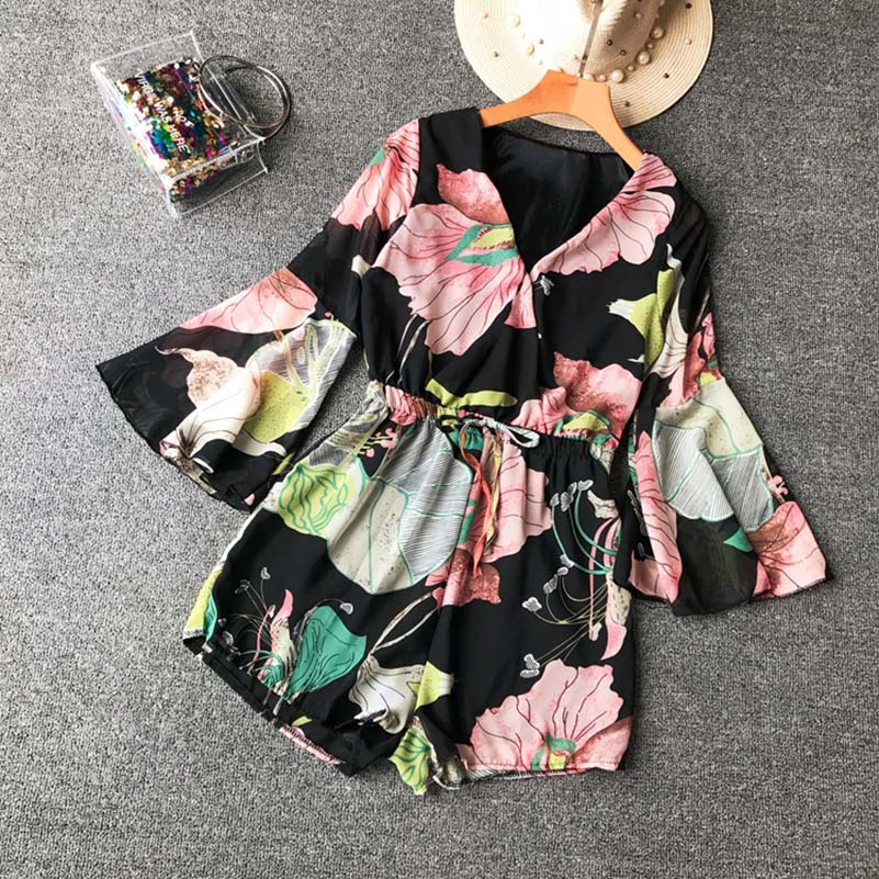 NiceMix 2019 New Arrival Casual Women Flower Printed bodysuit Summer Autumn Cute Female romper with Sahes Empire V neck vestidos in Rompers from Women 39 s Clothing