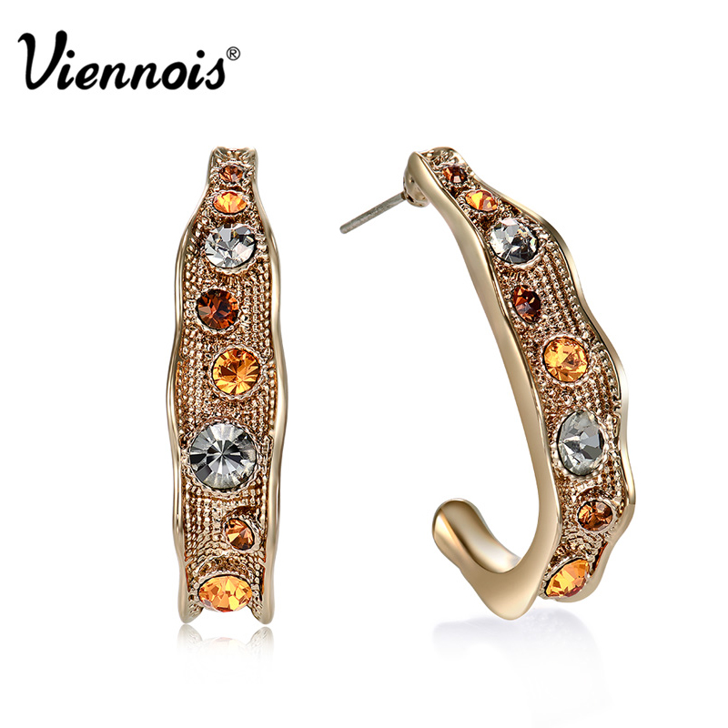 Hot Viennois Coffee Gold Color Woman Stud Earrings Top Austrian Rhinestone Vintage Semicircle Earrings pair of stylish rhinestone triangle stud earrings for women
