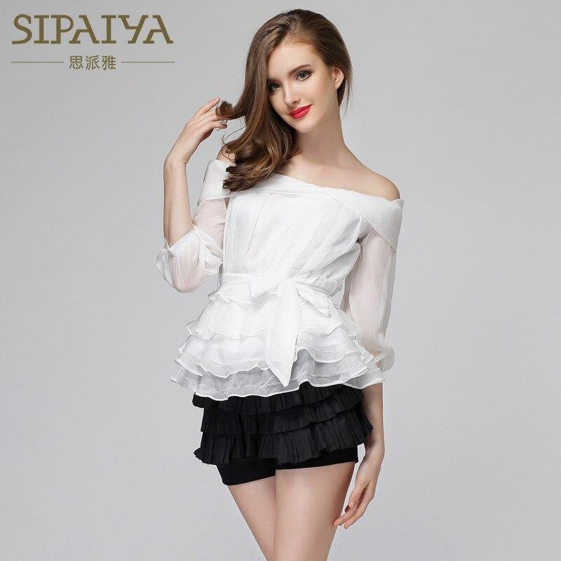 SIPAIYA 2017 Brand New Lace Peplum Blouse Sexy Slim Drapped Ruffles Strapless Tops 3/4 Sleeve Shirt White Office Blouse