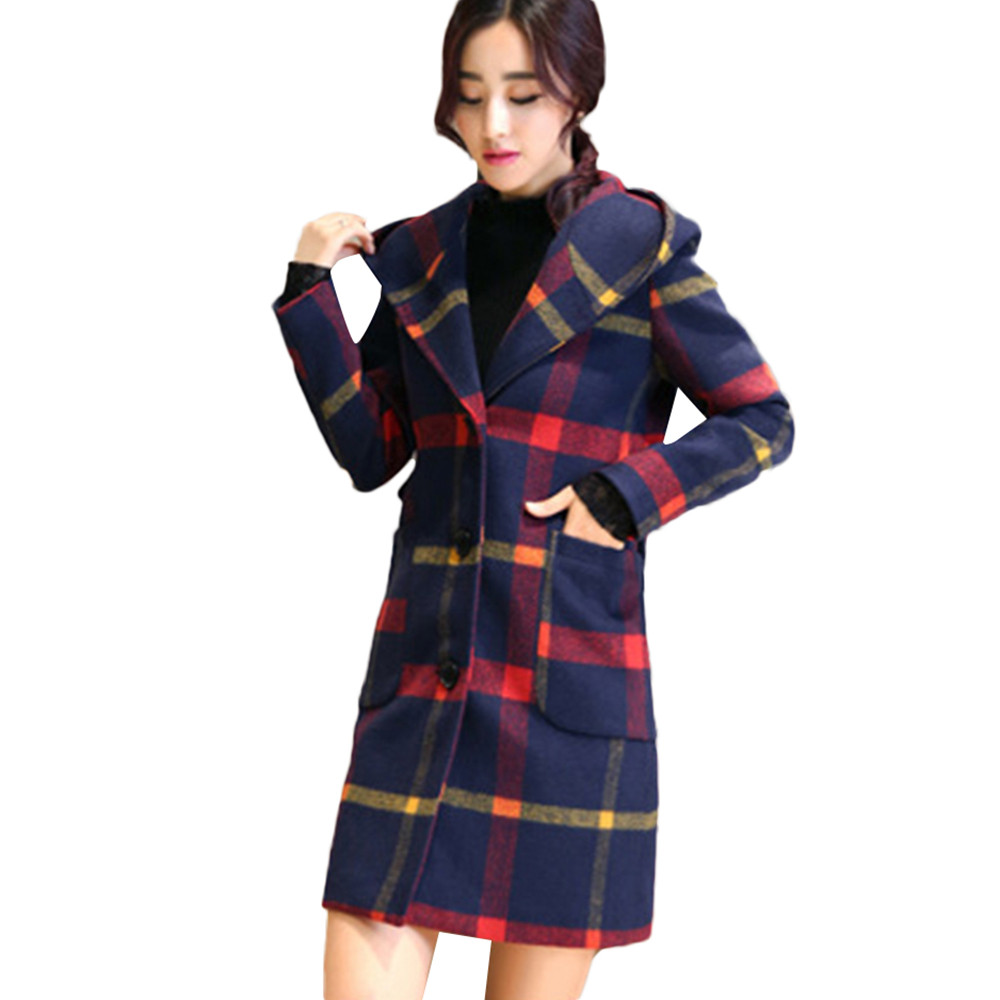 2018 coat for Women Fashion Long Sleeve Hooded Plaid Button womensWoollen Coat With Pocket long coat women fashion clothes