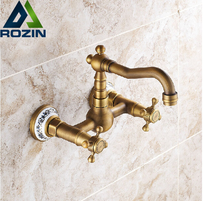 Wall Mount Dual Handles Hot and Cold Water Kitchen Sink Faucet Brass Antique Kitchen Mixer Tap china sanitary ware chrome wall mount thermostatic water tap water saver thermostatic shower faucet