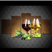 5 Панелей HD Печатных Красного Вина Бокал Шампанского Живопись Печать Холст декор Номеров печати плакат Картина Холст P0321