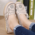 Spring Autumn Women 100% Genuine Leather Shoes Mother Big Size 35-44 Soft Oxford Bottom Hollow Out Flats Z563 19 Color Black