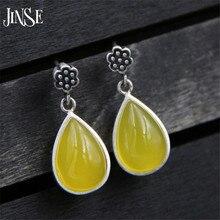 JINSE Wholesale Lady's Lovely Yellow Waterdrop Earring S925 Pure Silver Earring Fine Flower Jewelry 11mm Width