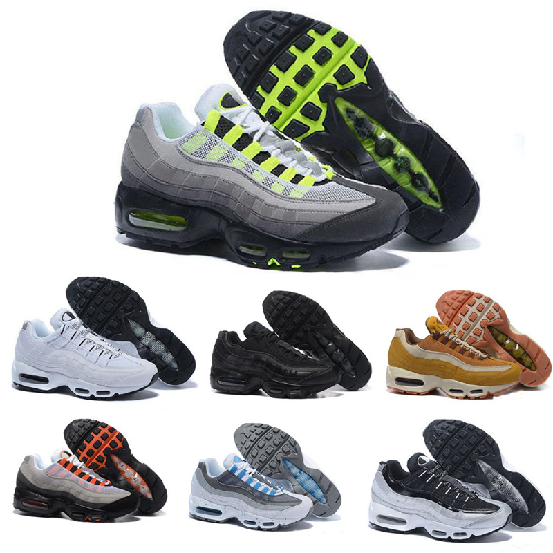2019 95 Men Running Shoes Pull Tab Black Brown White Slate Blue Cushion 95s Athletic Sport Sneakers Size 7 11