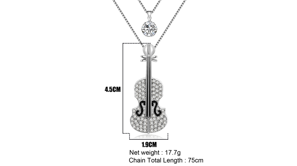 Violin Necklace Pendant with Rhinestones Musical Instrument Music Jewelry