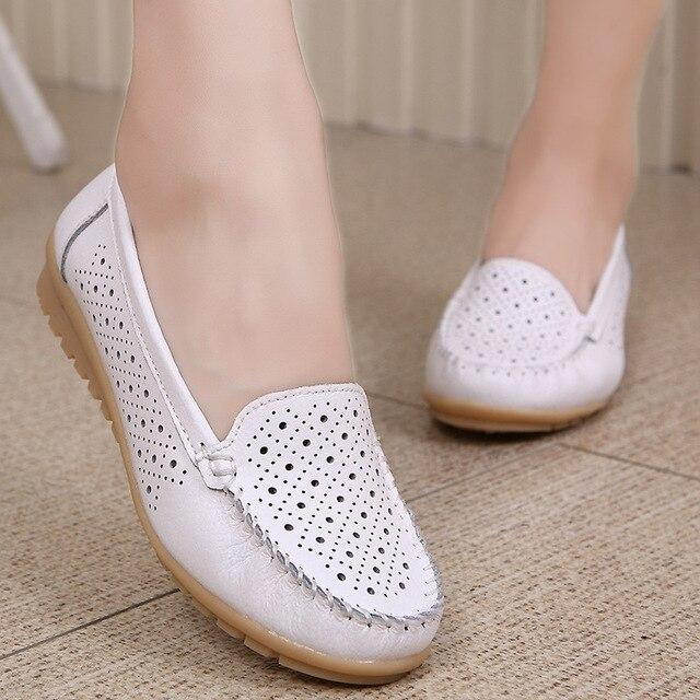 Весенние женские туфли-балетки женская обувь из натуральной кожи женщина вырез Лоферы балетки на плоской подошве Балетки на плоской подошве