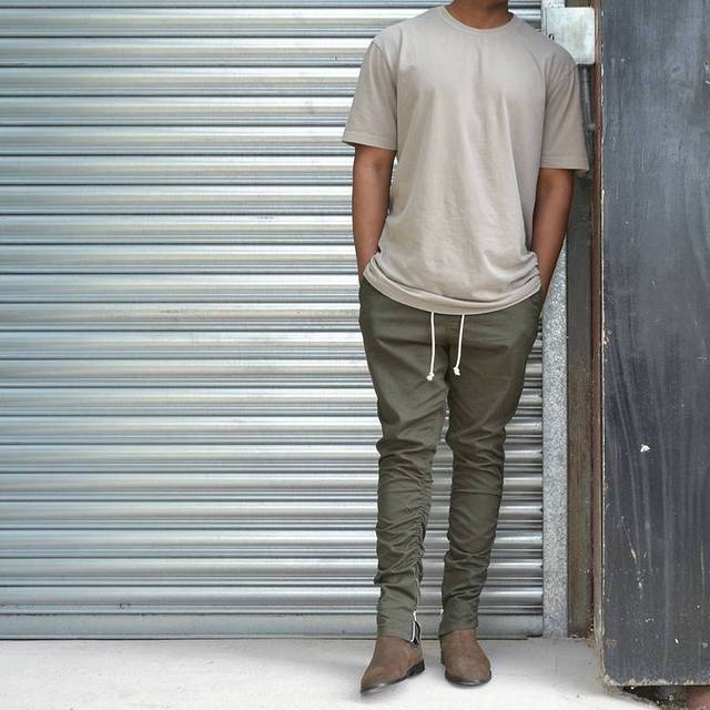 2017 Top moda de Corea del hip hop pantalones con cremalleras conexión fábrica caqui/negro ropa urbana hombres corredores de miedo dios yeezy
