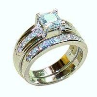 Choucong ювелирные изделия 925 стерлингового серебра квадратной формы с цирконом свадебное фианитовое кольцо Набор для женщин два слоя Размер 5,6