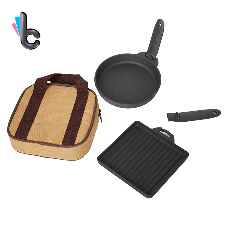 2PCS New Cast Iron Steak Dish Small Fry Pan Cast Iron Baking Pan Fried Egg Outdoor Grill Pan Small Baking Pan Suit