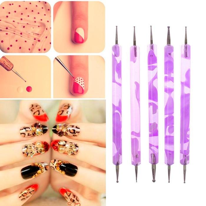 1Set 2Pcs 2 Way Dotting Pen Acrylic UV GEL Nail Art Design Dotting ...