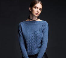 100%Cashmere Sweater Women Blue White Army Green Slash neck Pullover Warm Soft Solid Natural Fabric High Quality Free Shipping