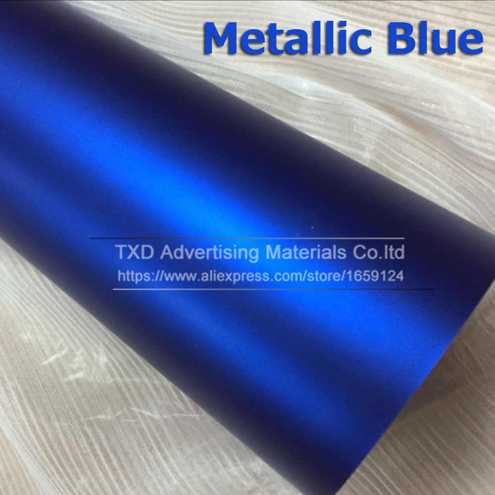 Blauw Metallic Matt Vinyl wrap Auto Wrap Met Luchtbel Gratis Chrome matte vinyl film blue Matt Film Voertuig Wikkelen sticker Folie