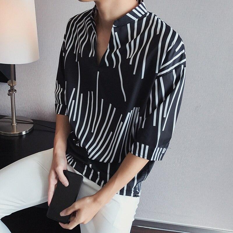 YASUGUOJI New 2019 Fashion V-neck Irregularity Striped Shirt Men Summer Loose Half-sleeve   Polo   Shirts Men Chemise Homme