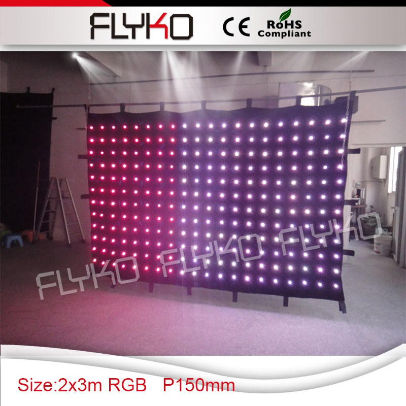 P15 2*3m sexy color movable led video curtain DJ stage display