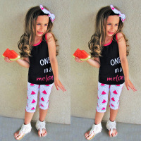 NEW Hot Selling 3pcs Kids Girls Summer Sleeveless Solid Color Watermelon Pattern Tops T Shirt Pants