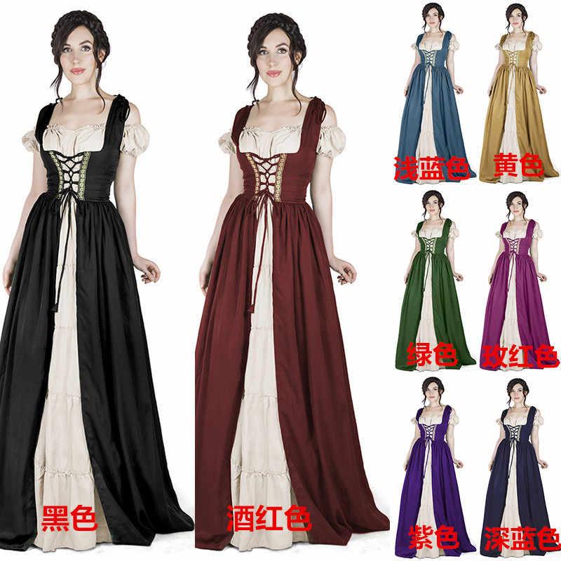 b014098da 2018 New Fashion Women's Long-sleeved Lace Medieval Long Dress Retro Dress  S-5XL