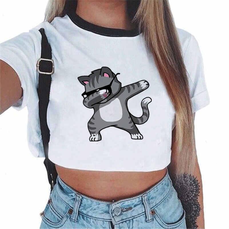 Harajuku tshirt de verão para as mulheres 2018 camiseta feminina unicornio impressão sexy colheita topo manga curta t camisas camisa do arco-íris