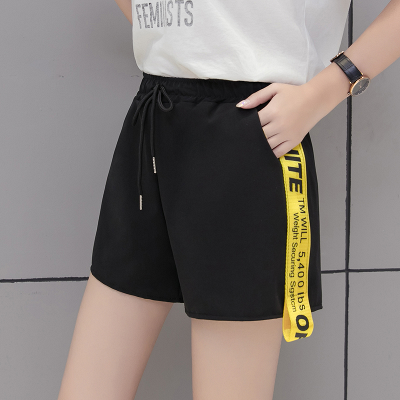 2018 New Summer Fashion Besides Stitching Wide Leg Pants Causal All-match Shorts Pants Student Letters Bandages Pants