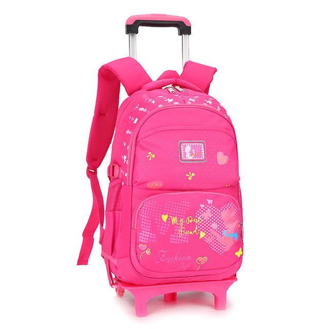 821fc59726 6 Ruote Principessa zaino Ragazze Sacchetto di Scuola Dei Bambini Trolley  scuola Zaino per bambini Ragazze