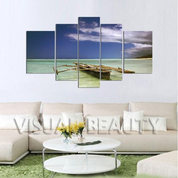 5 panneau toile Arts bateau océan paysages peintures impression sur toile (sans cadre)