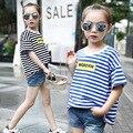 2016 New Summer Korean big virgin round neck T-shirt girls  fashion stripe T-shirt children print sleeved T-shirt
