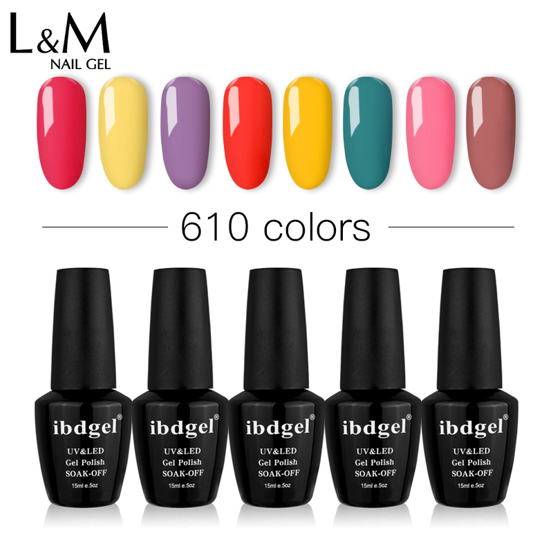 12 Pcs ibdgel Gel Nail Polish Glitter 628 Color Pretty UV Gel Polish Nail Art Manicure 15ml Varnish Lacquer Soak Off Gel Polish