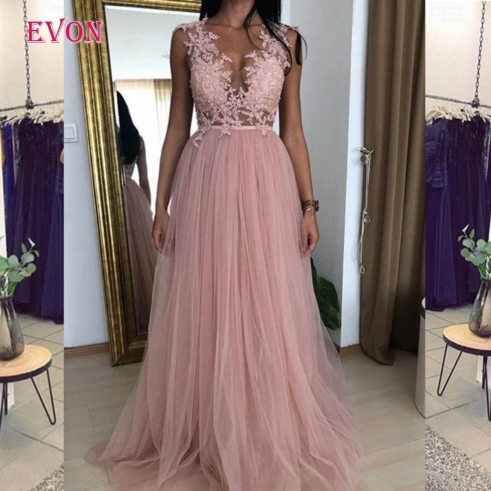 Sexy See Through Long   Evening     Dresses   Vintage A-line Applique V Neck Tulle Beach Formal   Dress   Women Elegant Party Prom Gown 2019