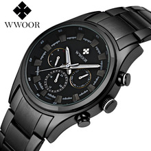 2017 New WWOOR Luxury Brand Quartz Watches Men Analog Chronograph Clock Men Sports Military Stainless Steel