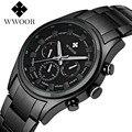 2017 nova wwoor luxo marca relógios de quartzo homens analógico chronograph homens relógio militar esportes relógio de pulso da forma do aço inoxidável