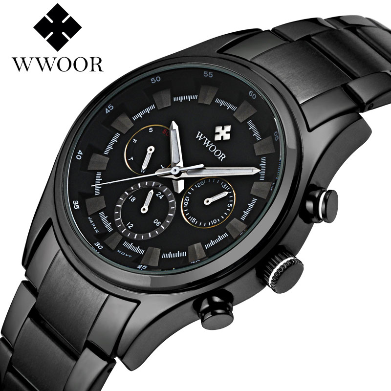 2018 New WWOOR Luxury Brand Quartz Watches Men Analog Chronograph Clock Men Sports Military Stainless Steel Fashion Wrist watch