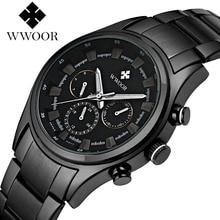 2018 New WWOOR Luxury Brand Quartz Watches Men Analog Chronograph Clock Men Sports Military Stainless Steel