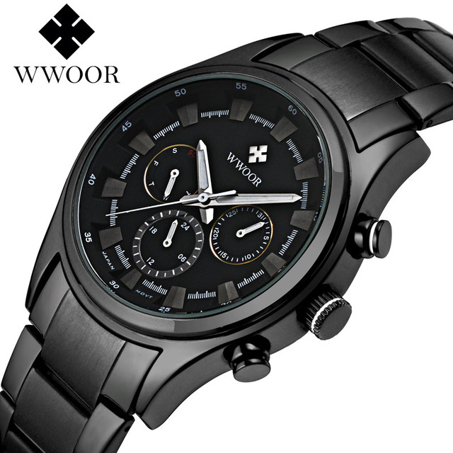 2018 neue wwoor luxus marken quarz uhren herren analog chronograph uhr m nner sport. Black Bedroom Furniture Sets. Home Design Ideas