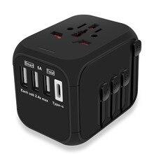 MAXAH дорожный адаптер с 3 USB зарядным устройством и type C универсальный адаптер для путешествий адаптер для Европа США Великобритания Австралия