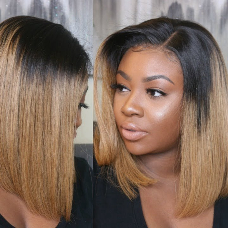 Lace Front Human Hair Wigs For Black Women Pre Plucked Brazilian Remy Hair Ombre Straight Short Bob Wigs With Baby Hair