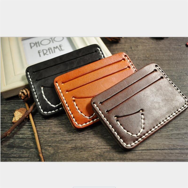 HNXZXB Genuine Leather Card Case Bag Men Thin Business ID Credit Cards Holder Wallet Women Cards Pack Cash Pocket Cardholder 02
