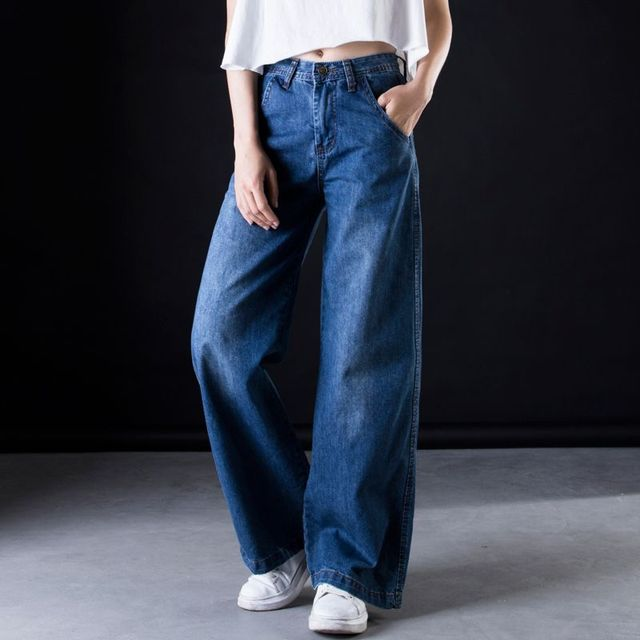 96a3d6548a5 Plus size Wide leg jeans Women casual Bell Bottom Jeans High waist Full length  trousers Boyfriend Baggy Flare Denim Pants C549