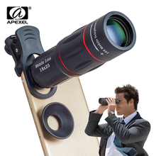 APEXEL 2 ב 1 HD אופטי אוניברסלי 18X טלה טלפון מצלמה עם חצובה 18x25 המשקפת למצלמות עדשה עבור כל הטלפון החכם