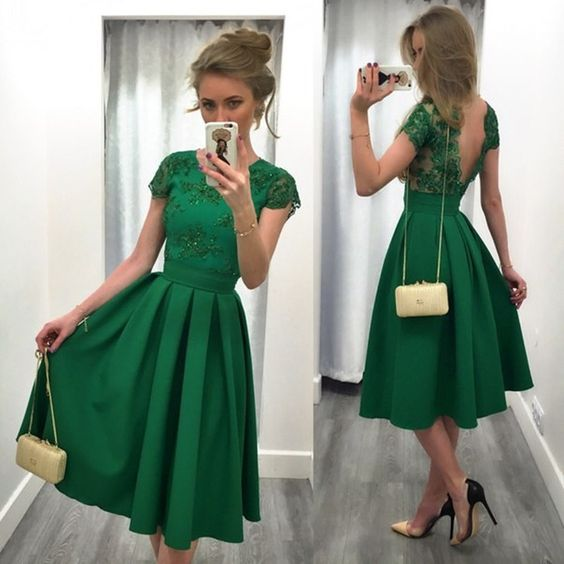 Emerald Green Satin Lace Lique Beading Short Sleeves Knee Length Prom Dresses For Wedding Party In From Weddings Events On Aliexpress