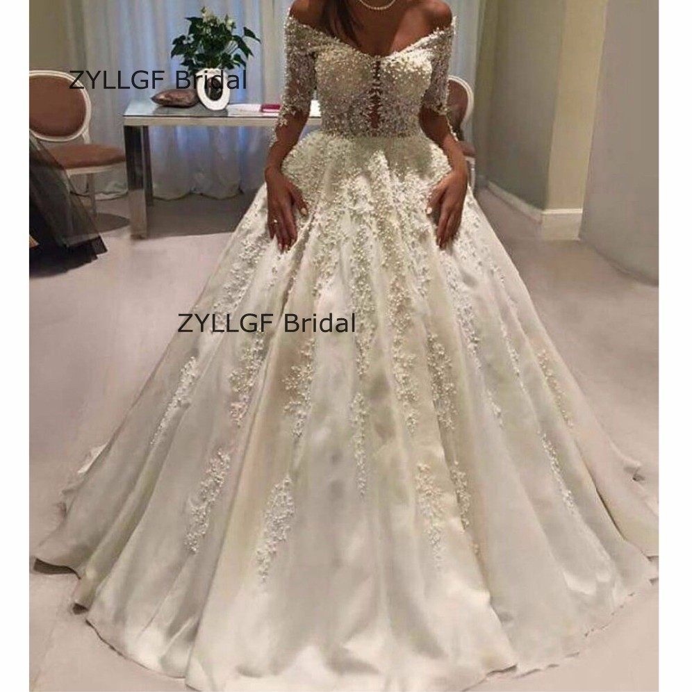 Us 490 0 Zyllgf Bridal Sexy Puffy Long Sleeved Wedding Dresses Luxury Beaded Bridal Gowns Dubai Factory Direct Sale Tn227 In Wedding Dresses From