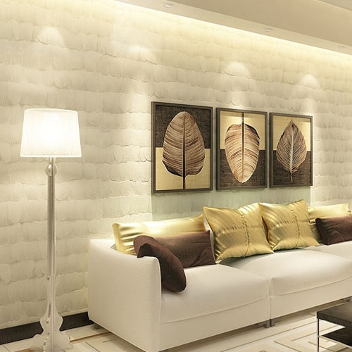 Lovely Mural Model Simple Style 3d Feathers Decor Non Woven Bedroom Tv Set  Wallpaper Wall Paper