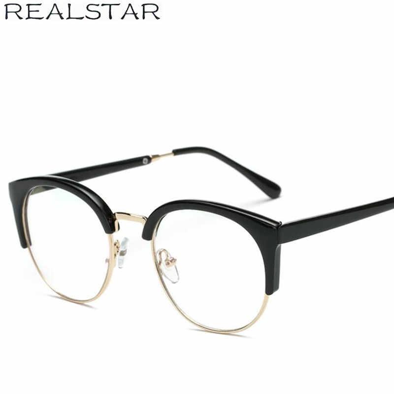 39172451377 ... REALSTAR 2018 Fashion Cat Eye Eyeglasses Frames Women Myopia Optical  Eyewear Half Round Frame Brand Eye ...