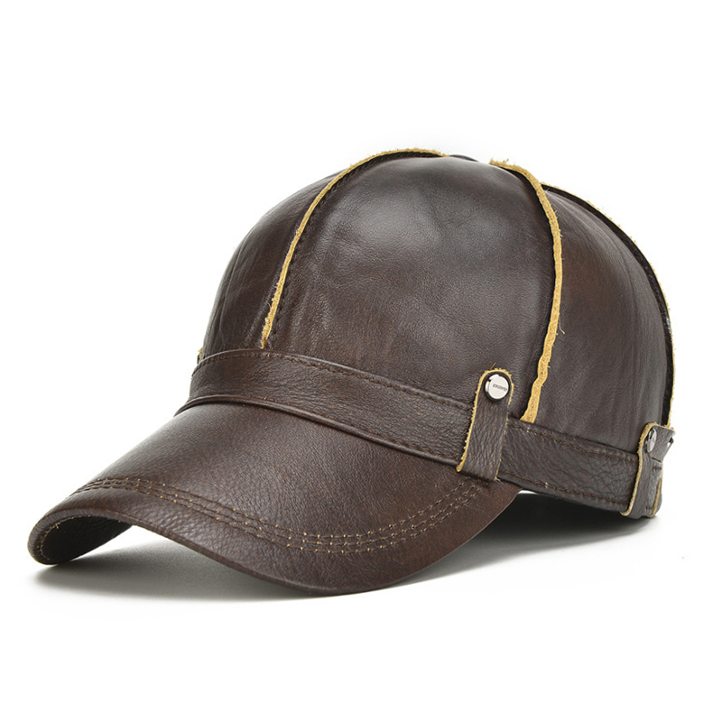 adde65a7a67 NORTHWOOD High Quality Cowhide Genuine Leather Baseball Cap Men ...