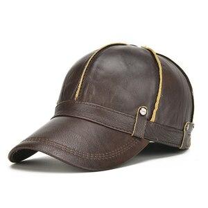 Image 2 - [NORTHWOOD] عالية الجودة جلد البقر حقيقية قبعة بيسبول جلدية الرجال الشتاء Gorras الفقرة Hombre Snapback Casquette الشتاء قبعات سائق الشاحنة