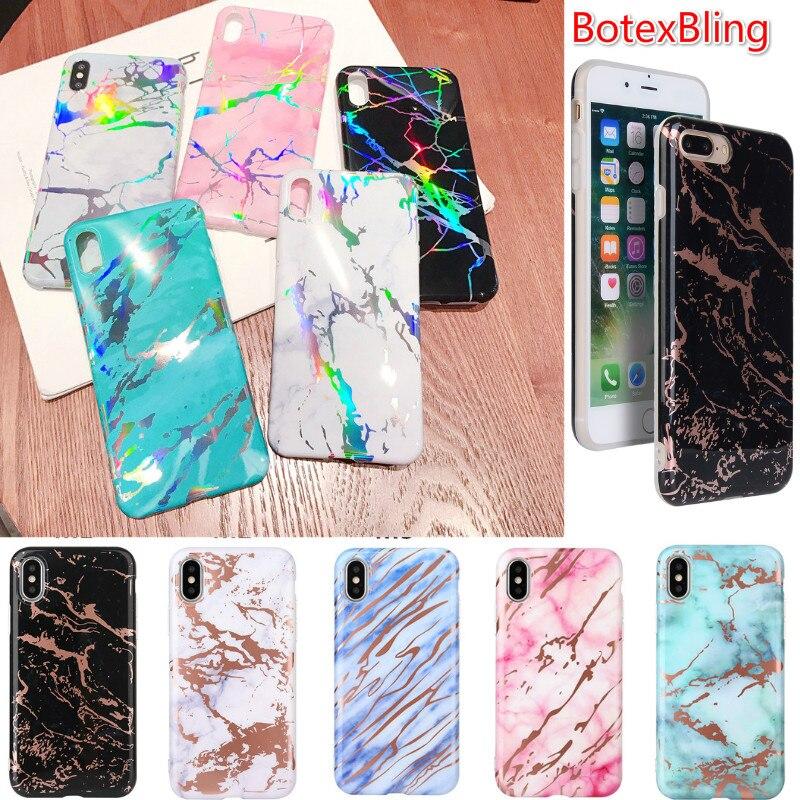 Für iphone XS max fall luxus laser bronzing marmor IMD weiche telefon fall für iphone XR XS X abdeckung 8 8 plus 7 7 plus 6 s plus 6 plus