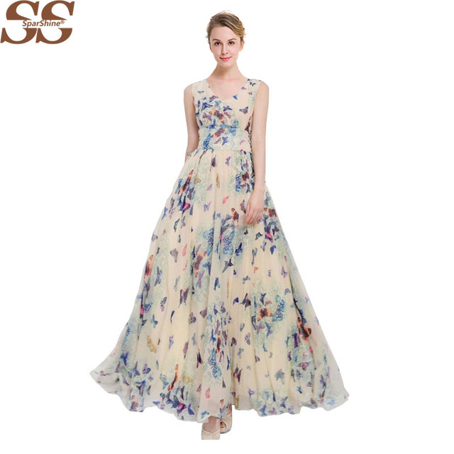 17889c08d22 2017 Sparshine Summer Print Bohemian Dress Chiffon Maxi Dress Elegant  Sundresses Plus Size Ladies Vestidos V-neck Women Clothing