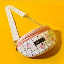 Angelatracy 2019 New Arrival Fruit Wide Strap Plaid Leather PU Fresh Sweet Cute Belt Purse Fanny Pack Waist Wallet